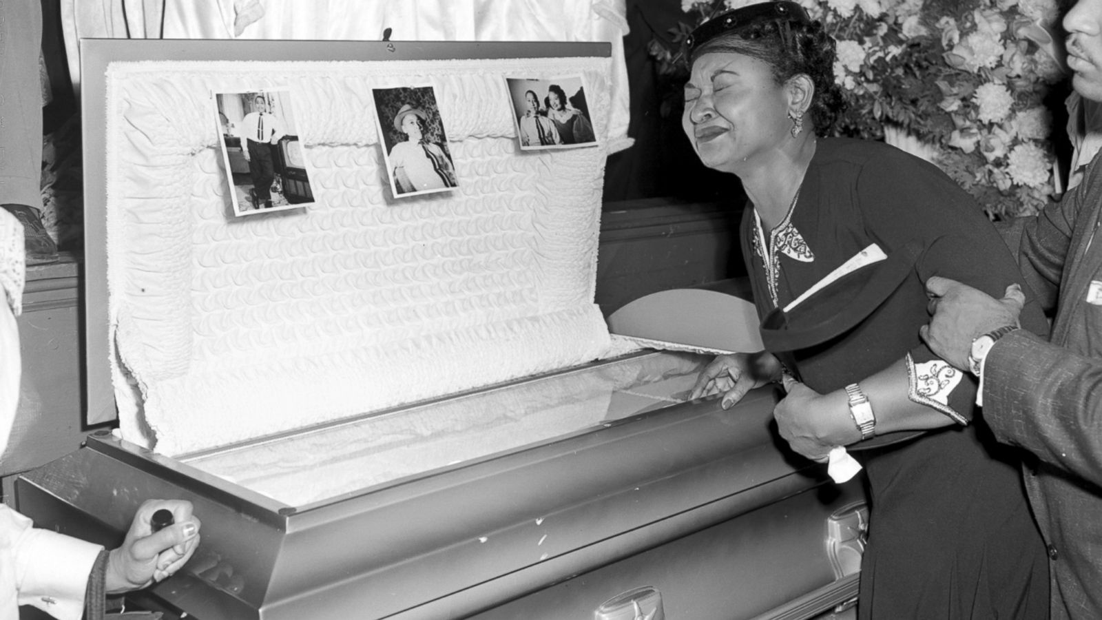 Mamie Till Bradley crying over casket