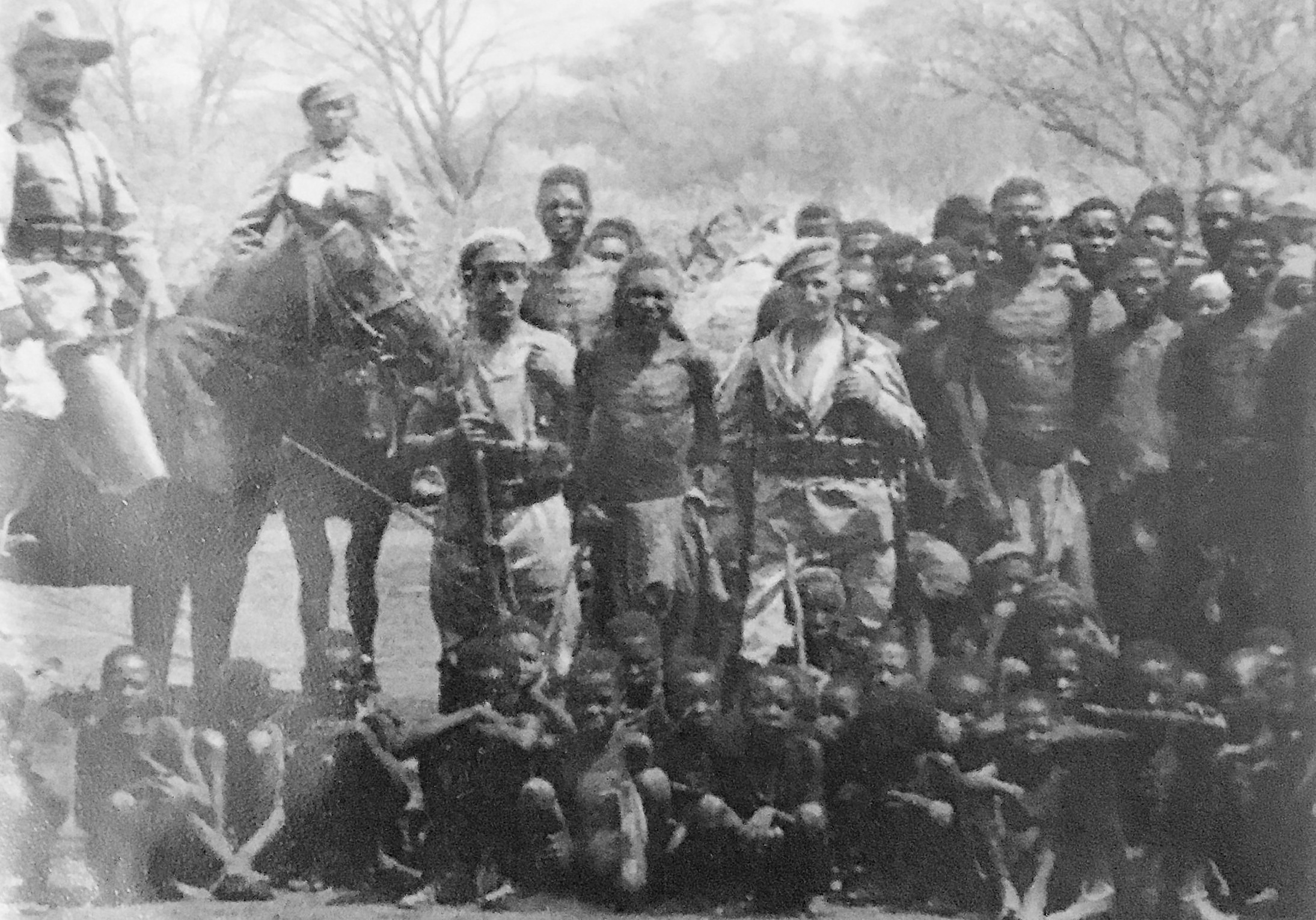 German colonial troops with prisoners in former German Southwest Africa.