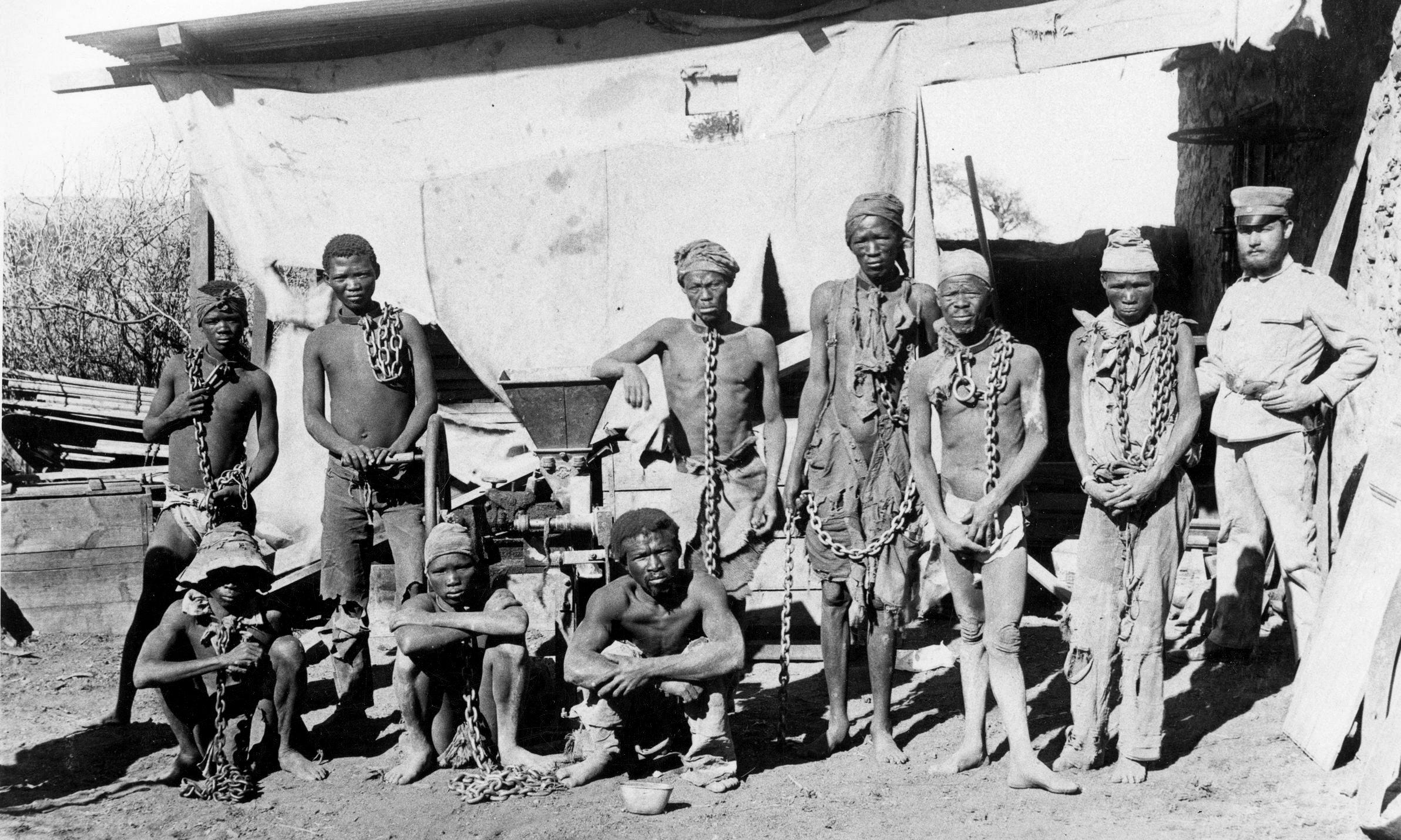 Prisoners from the Herero and Nama tribes during the 1904-1908 war against Germany
