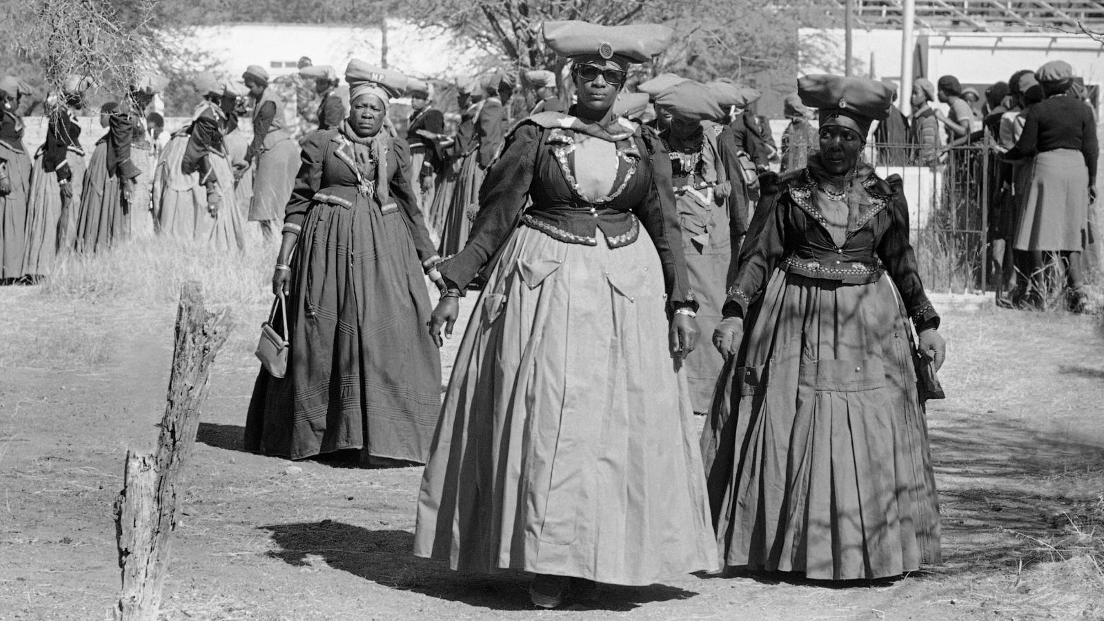 Women of the Herero tribe show their traditional dress in Windhoek
