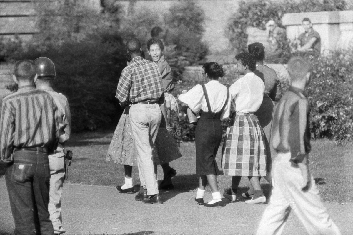 Black Students Walking To Integrated School