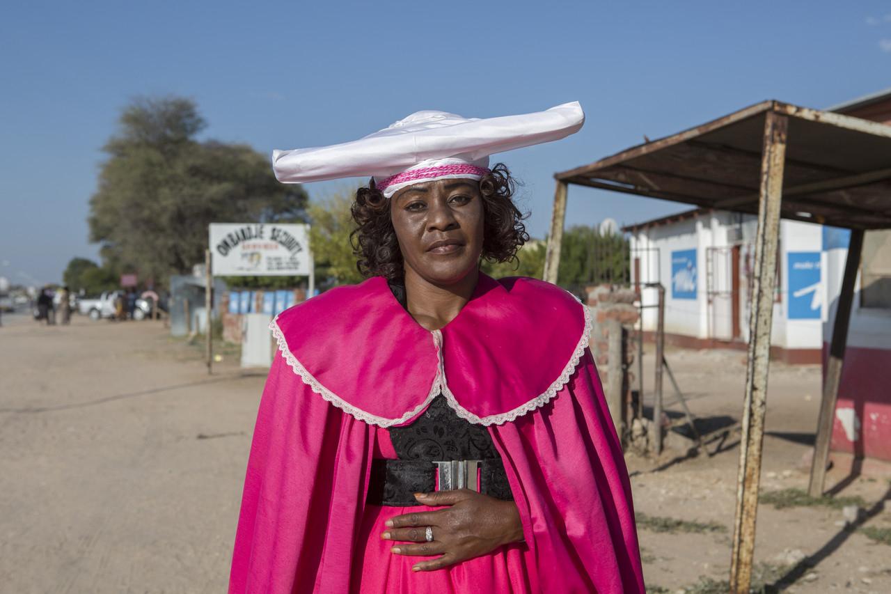 Sonia Nganjoiye, 42, a tailor in Okakarara, is a descendant of Herero survivors.