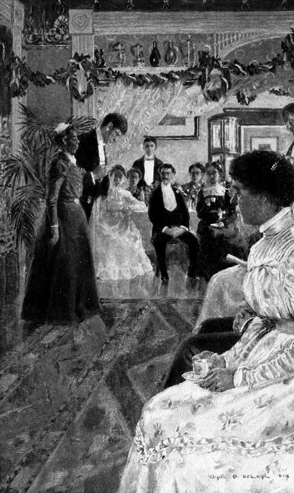 """Illustration by Clyde O. De Land from Chesnutt's """"The Wife of His Youth."""""""